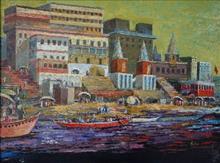 Banaras Ghat - IX, painting by Nalini Bhagwat