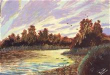 Lake, painting by Pratibha Singh