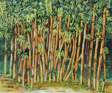 Bamboo Trees - 2, painting by Sandhya Joshi