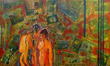 Painting by Shubhra Chaturvedi - Love in Times of 24X7 news - I