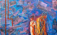 Painting by Shubhra Chaturvedi - Love in Times of 24X7 news - II