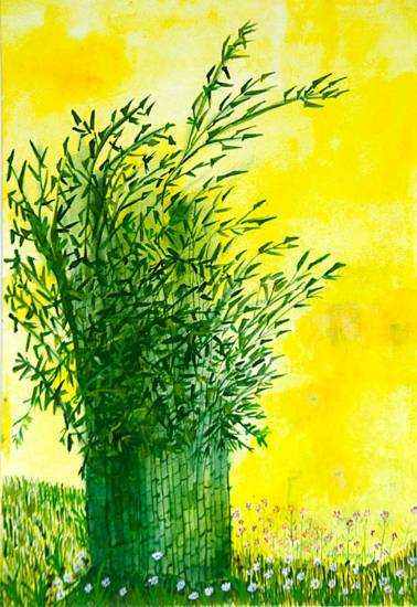 In the Bamboo land, Painting by Shubhra Chaturvedi