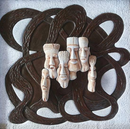 Faces, Sculpture by Milind Raut