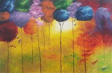 Colorful trees, Painting by Isha Bhansali