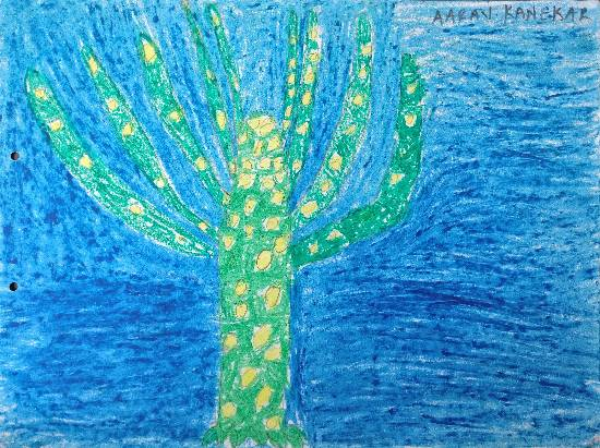 Plant in ocean, painting by Aarav Kanekar