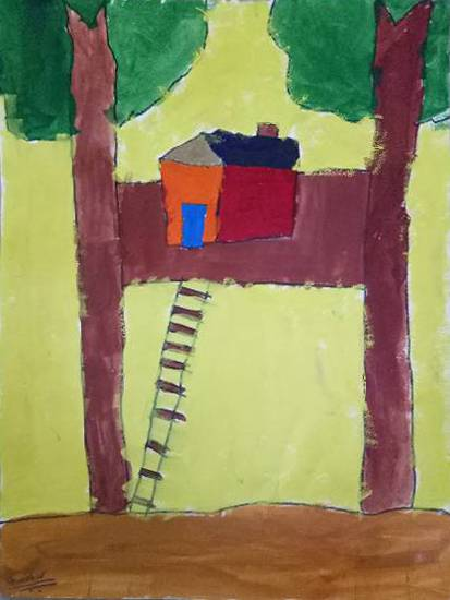 painting by Aarav Kanekar - Tree house