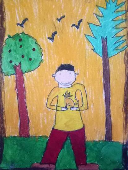 Painting  by Aarav Kanekar - Me & my pet