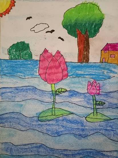 Painting  by Aarav Kanekar - A Lotus in pond