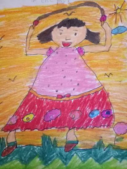 A girl skipping in the garden, painting by Aarav Kanekar