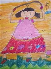 Painting  by Aarav Kanekar - A girl skipping in the garden