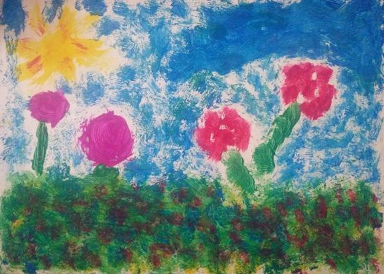 Painting  by Ananya Satish Pisharody - A Garden