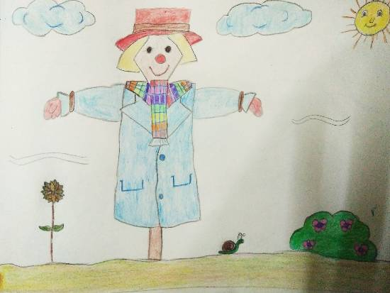Painting  by Ananya Satish Pisharody - My Scarecrow