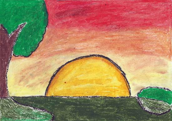 Painting  by Ananya Satish Pisharody - Sunset