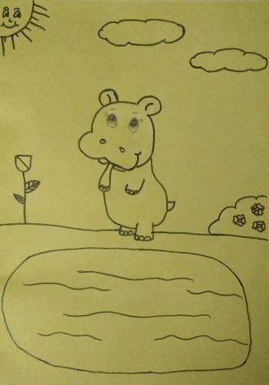 Painting  by Ananya Satish Pisharody - My Baby Hippo