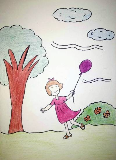 Painting  by Ananya Satish Pisharody - A girl with balloon
