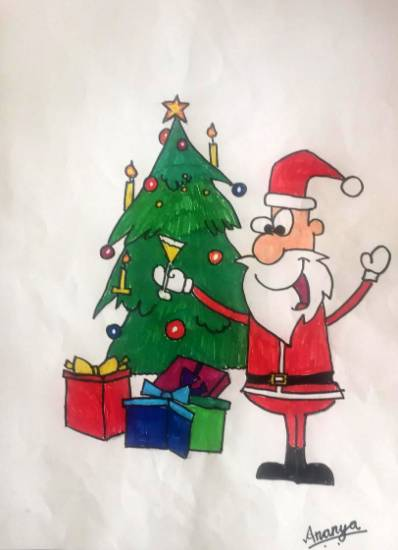 Painting  by Ananya Satish Pisharody - My Santa