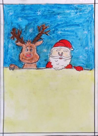 Painting  by Ananya Satish Pisharody - Santa and Rudolph