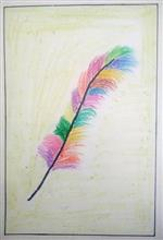 Painting  by Ananya Satish Pisharody - Multi coloured feather