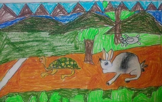 Painting  by Anay Advait Joshi - Rabbit and Tortoise