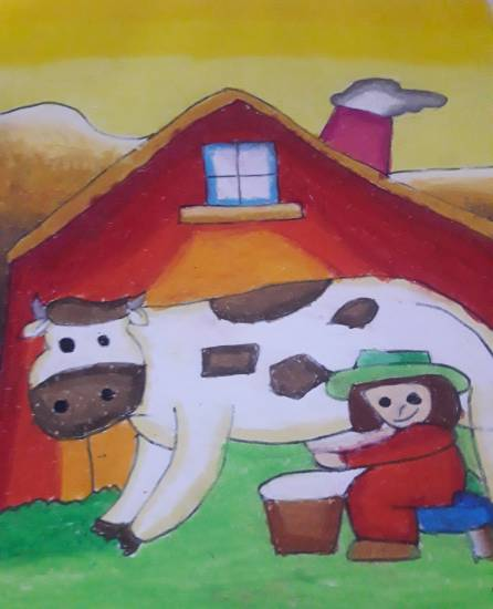 Painting  by Antara Shivram Desai - Cow