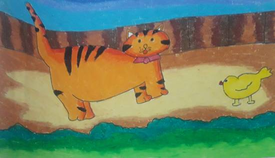 Painting  by Antara Shivram Desai - Cat