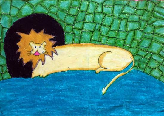 Painting  by Antara Shivram Desai - Lion the King