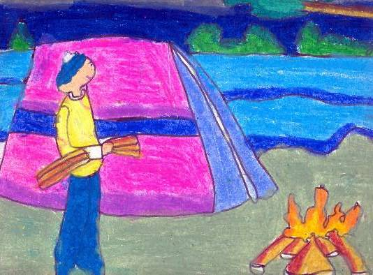 Painting  by Antara Shivram Desai - Camp fire