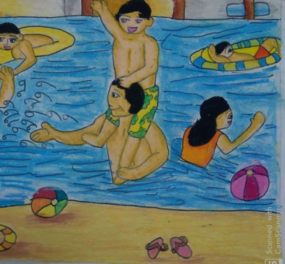Painting  by Antara Shivram Desai - swimming with freinds