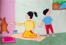 Painting  by Antara Shivram Desai - Sister and Brother playing