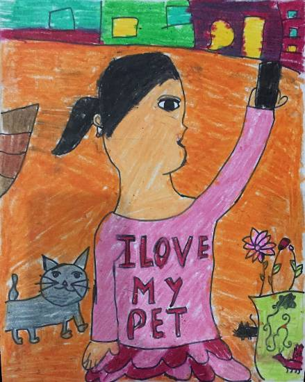 painting by Anushka Swapnil Parulekar - Me with my pet
