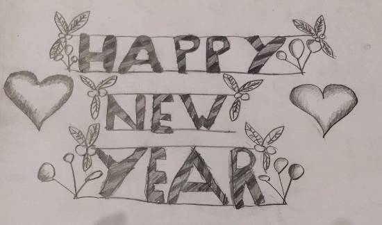 Painting  by Anushka Swapnil Parulekar - Happy New Year