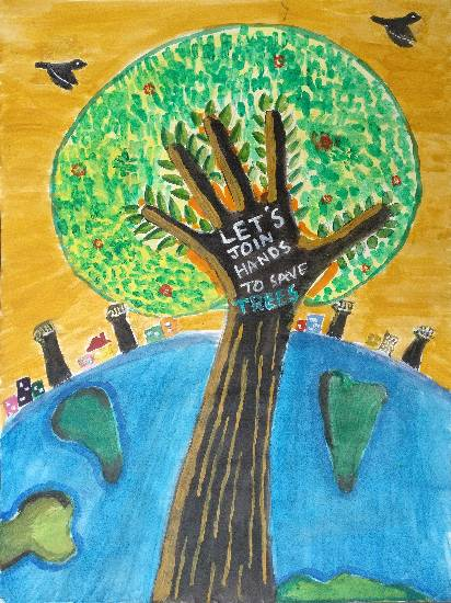 painting by Arpita Bhat - Lets join hands to Save Trees