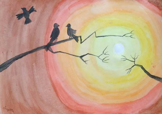 painting by Arpita Bhat - Sunrise with birds