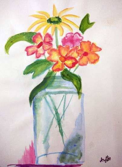 Painting  by Arpita Bhat - Garden Fresh Flowers