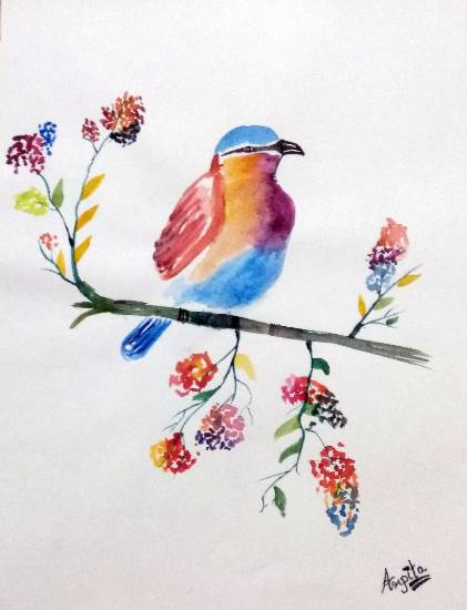Painting  by Arpita Bhat - Colourful Birdie