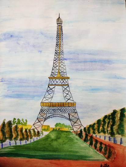 Eiffel Tower, painting by Arpita Bhat