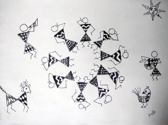 Warli Art, painting by Arpita Bhat