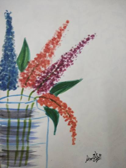 Vibrant flowers, painting by Arpita Bhat