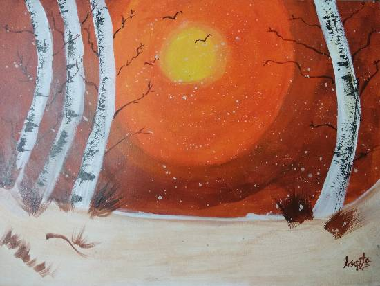 Painting  by Arpita Bhat - Scenic sunset with the beautiful birch trees