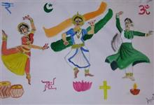 Painting  by Arpita Bhat - National Integration