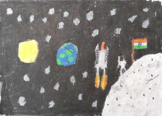 painting by Indraneel Ramkrishna Naik - My journey into outer space