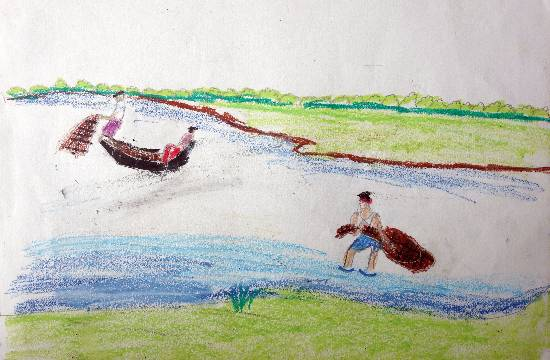 painting by Indraneel Ramkrishna Naik - Fisherman