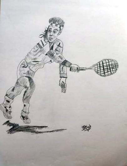 Painting  by Indraneel Ramkrishna Naik - Tennis player