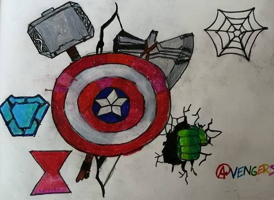 Painting  by Indraneel Ramkrishna Naik - My favorite fiction characters : The avengers logos