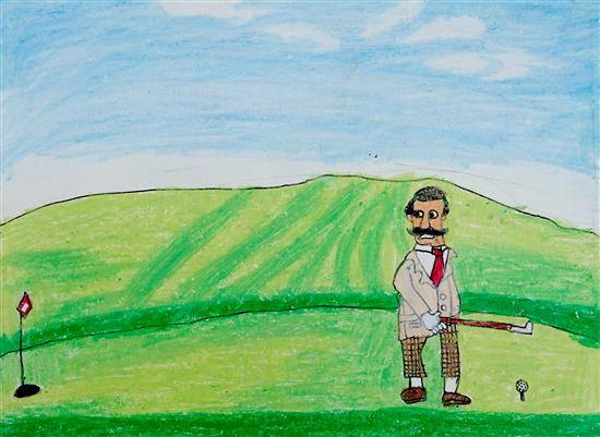 Painting  by Indraneel Ramkrishna Naik - A beautiful day with golf