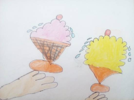 Flavors of Ice creams - Strawberry and Mango flavor, painting by Isha Bhattacharjee