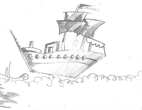 Rough sea sailing ship, painting by Isha Bhattacharjee