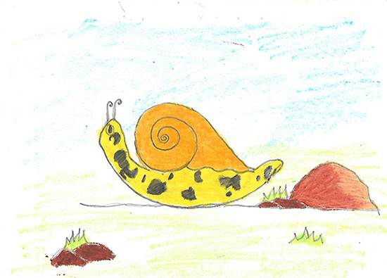 Painting  by Isha Bhattacharjee - Snail at the shore