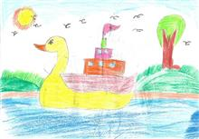 Painting  by Isha Bhattacharjee - Duck 2