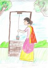 Painting  by Isha Bhattacharjee - Village Life